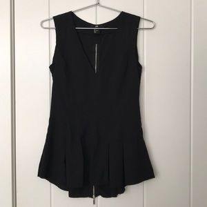 H&M pleated Peplum Black Tank SZ 4
